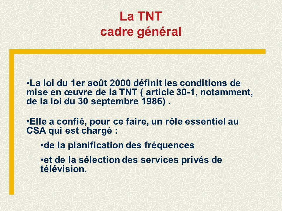 La TNT cadre général La loi du 1er août 2000 définit les conditions de mise en œuvre de la TNT ( article 30-1, notamment, de la loi du 30 septembre 19