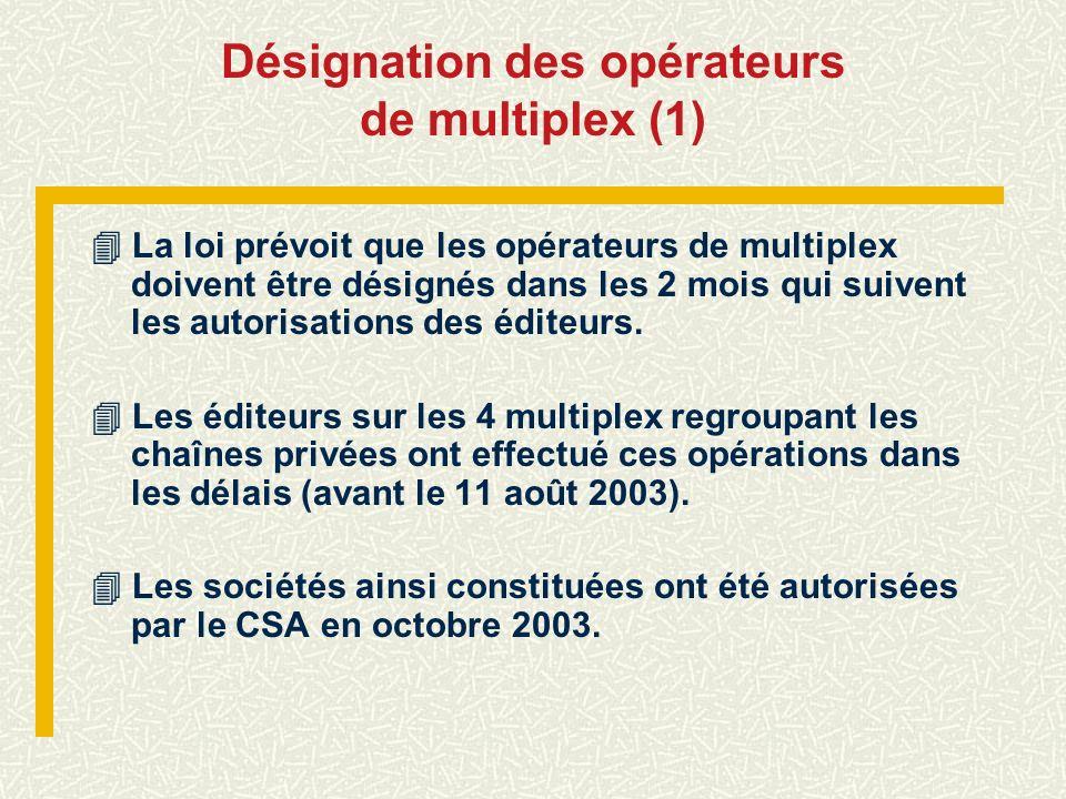Désignation des opérateurs de multiplex (1) La loi prévoit que les opérateurs de multiplex doivent être désignés dans les 2 mois qui suivent les autor
