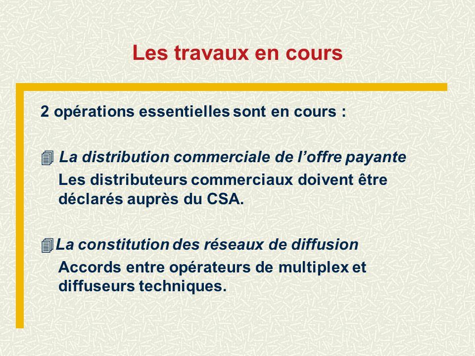 Les travaux en cours 2 opérations essentielles sont en cours : La distribution commerciale de loffre payante Les distributeurs commerciaux doivent êtr