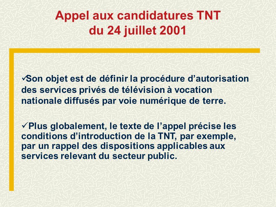 Appel aux candidatures TNT du 24 juillet 2001 Son objet est de définir la procédure dautorisation des services privés de télévision à vocation nationa