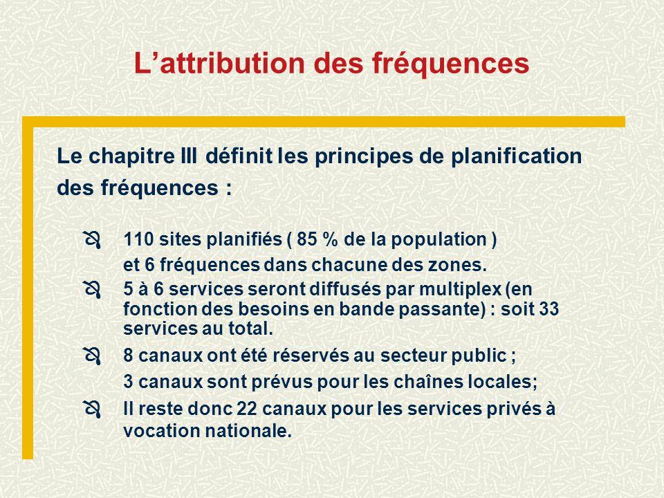 Lattribution des fréquences Le chapitre III définit les principes de planification des fréquences : 110 sites planifiés ( 85 % de la population ) et 6