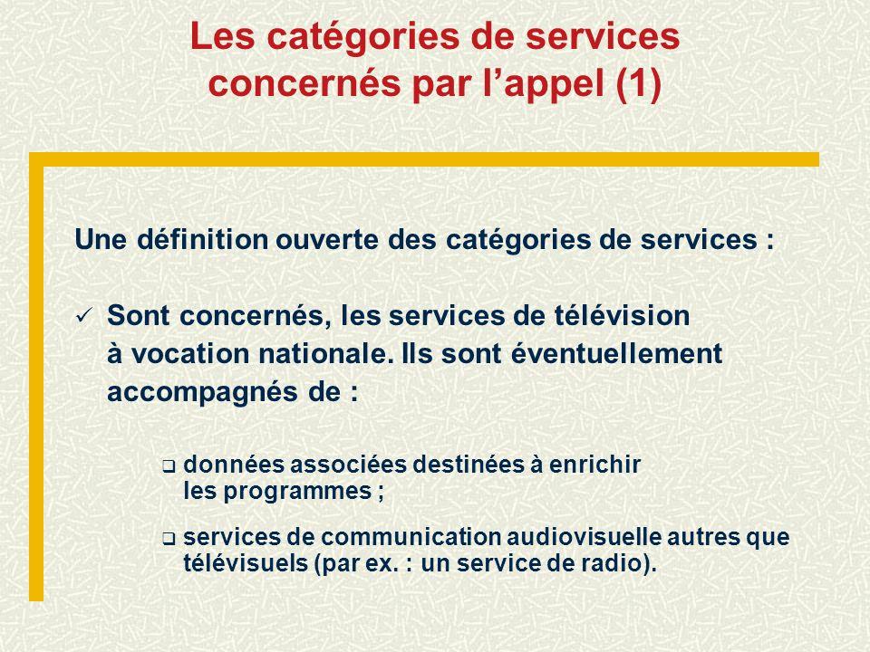 Les catégories de services concernés par lappel (1) Une définition ouverte des catégories de services : Sont concernés, les services de télévision à v