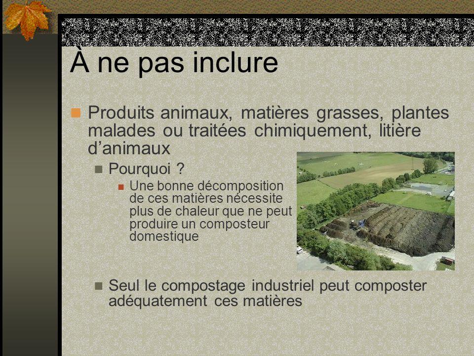 À ne pas inclure Produits animaux, matières grasses, plantes malades ou traitées chimiquement, litière danimaux Pourquoi ? Une bonne décomposition de