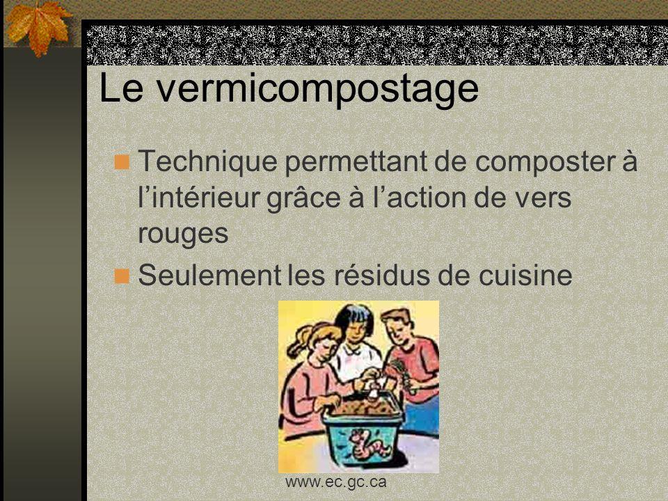 Le vermicompostage Technique permettant de composter à lintérieur grâce à laction de vers rouges Seulement les résidus de cuisine www.ec.gc.ca