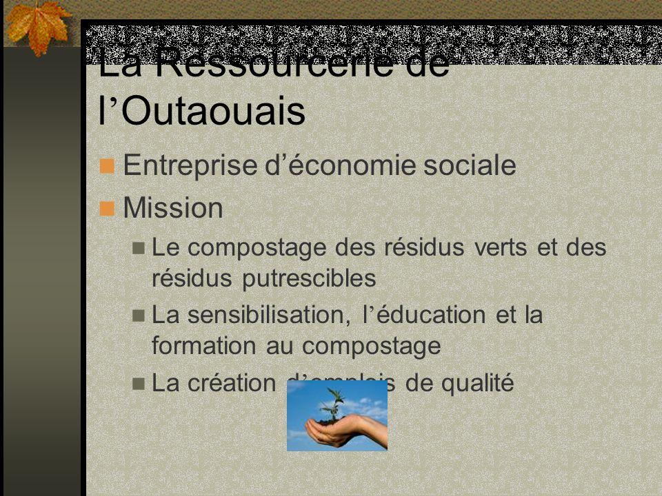 La Ressourcerie de l Outaouais Entreprise déconomie sociale Mission Le compostage des résidus verts et des résidus putrescibles La sensibilisation, l