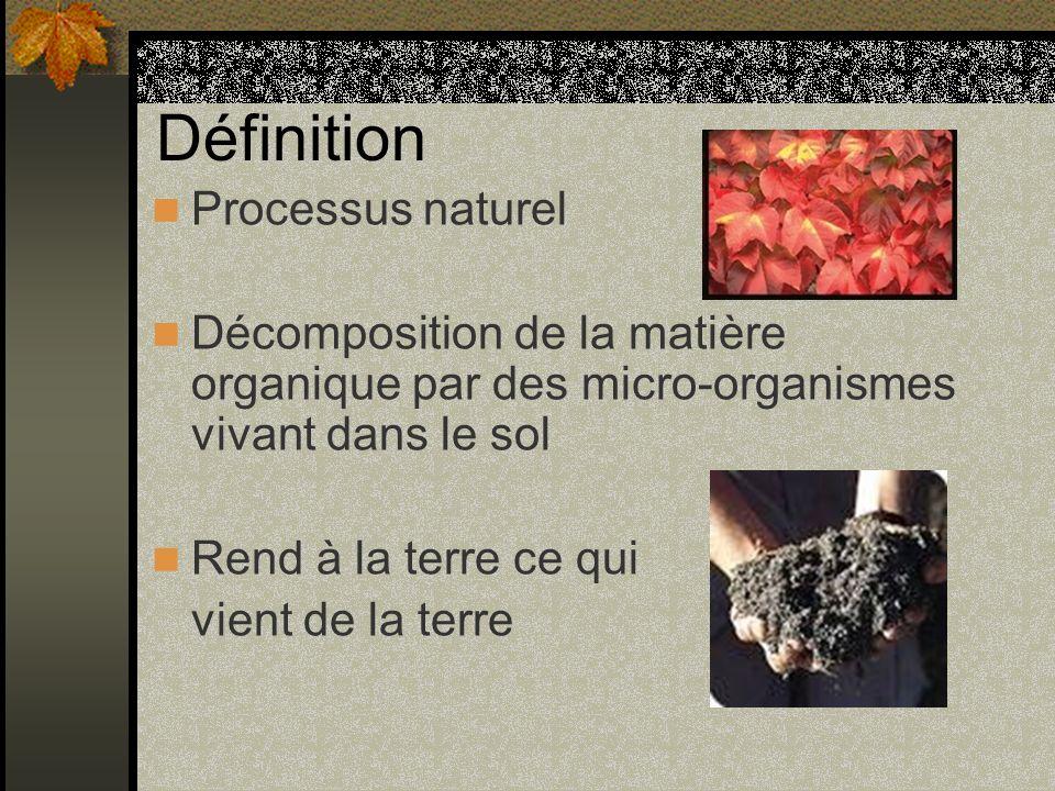 Définition Processus naturel Décomposition de la matière organique par des micro-organismes vivant dans le sol Rend à la terre ce qui vient de la terr