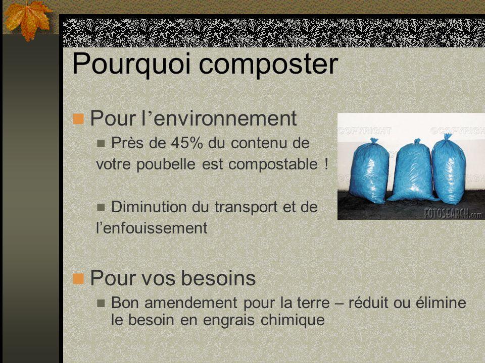 Pourquoi composter Pour l environnement Près de 45% du contenu de votre poubelle est compostable ! Diminution du transport et de lenfouissement Pour v