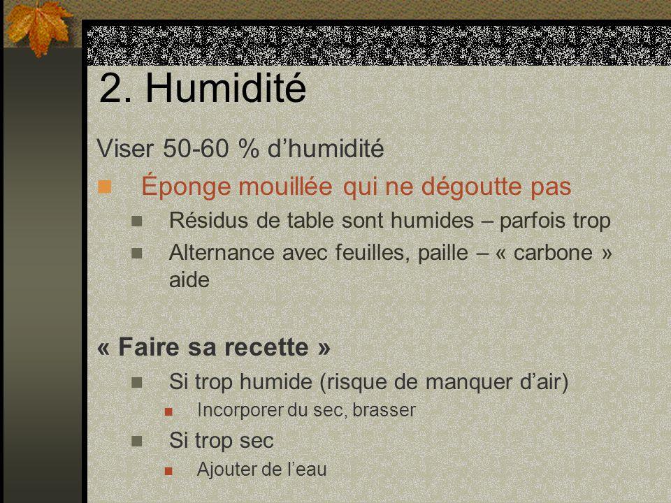 2. Humidité Viser 50-60 % dhumidité Éponge mouillée qui ne dégoutte pas Résidus de table sont humides – parfois trop Alternance avec feuilles, paille