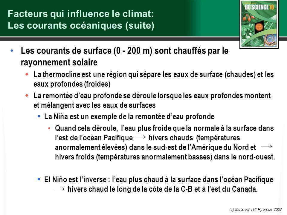 Facteurs qui influence le climat: Les courants océaniques (suite) Les courants de surface (0 - 200 m) sont chauffés par le rayonnement solaire La ther
