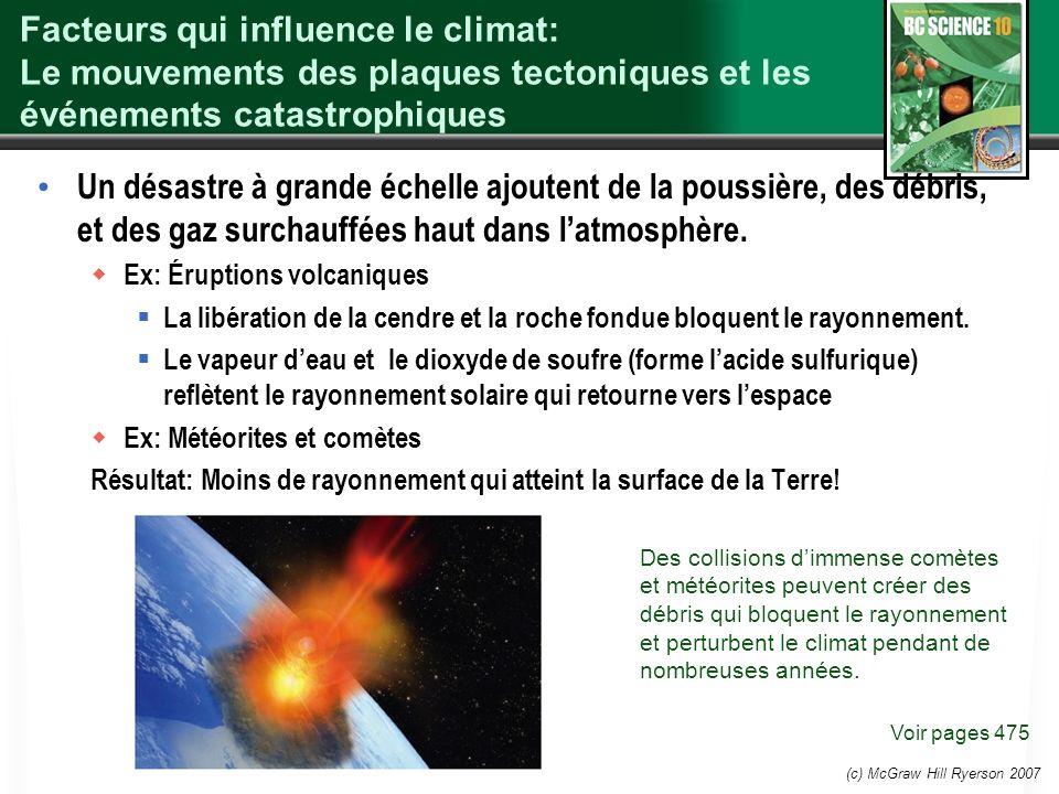 (c) McGraw Hill Ryerson 2007 Facteurs qui influence le climat: Le mouvements des plaques tectoniques et les événements catastrophiques Un désastre à g