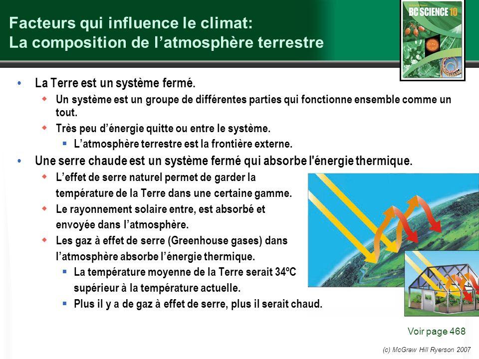 Facteurs qui influence le climat: La composition de latmosphère terrestre La Terre est un système fermé. Un système est un groupe de différentes parti