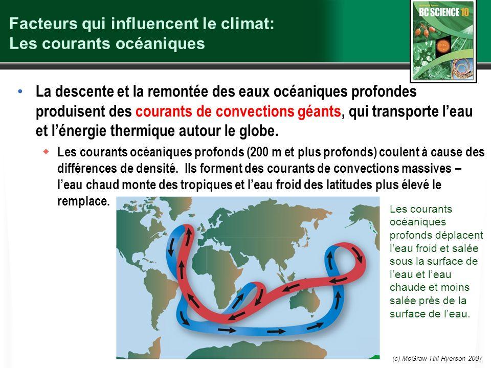 (c) McGraw Hill Ryerson 2007 Facteurs qui influencent le climat: Les courants océaniques La descente et la remontée des eaux océaniques profondes prod