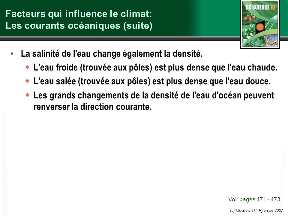 (c) McGraw Hill Ryerson 2007 Facteurs qui influence le climat: Les courants océaniques (suite) La salinité de l'eau change également la densité. L'eau