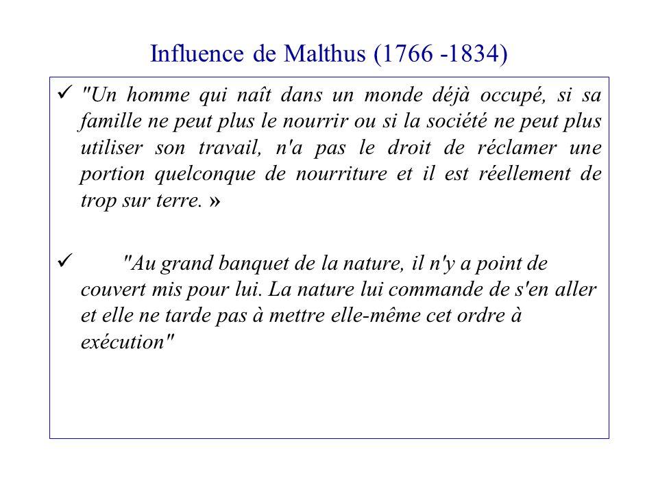 Influence de Malthus (1766 -1834)