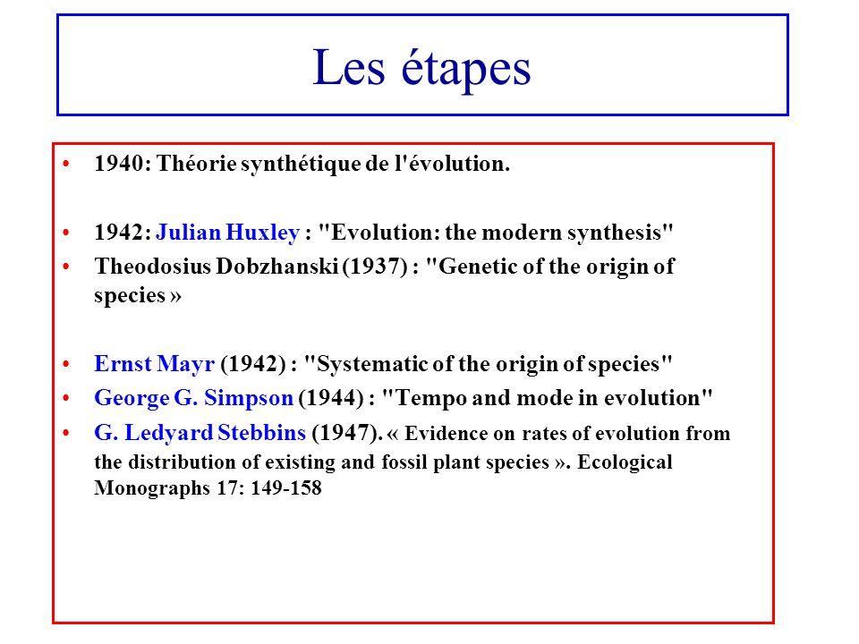 Les étapes 1940: Théorie synthétique de l'évolution. 1942: Julian Huxley :