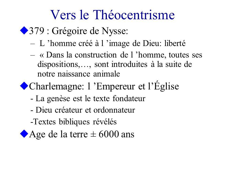Vers le Théocentrisme u379 : Grégoire de Nysse: – L homme créé à l image de Dieu: liberté – « Dans la construction de l homme, toutes ses dispositions