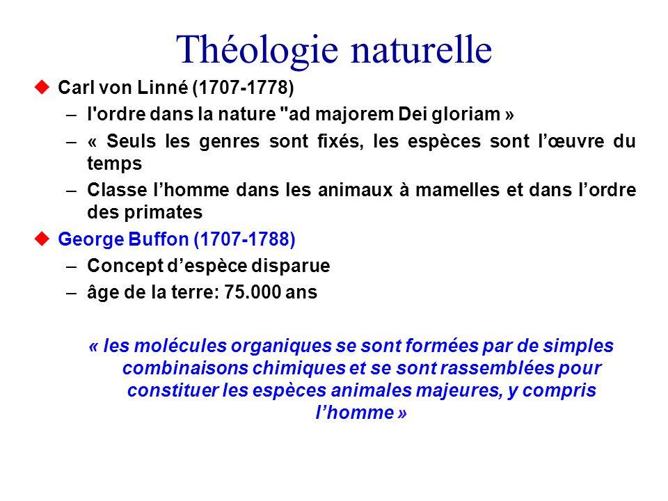Théologie naturelle Carl von Linné (1707-1778) –l'ordre dans la nature