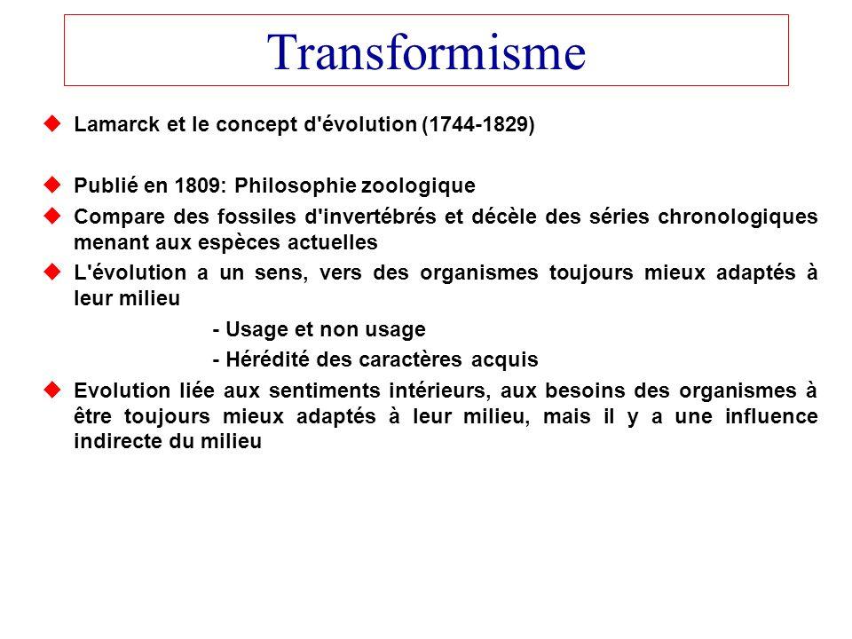 Transformisme Lamarck et le concept d'évolution (1744-1829) Publié en 1809: Philosophie zoologique Compare des fossiles d'invertébrés et décèle des sé