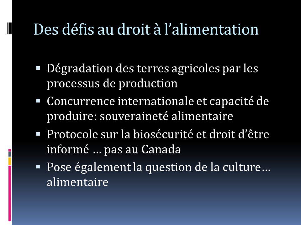 Des défis au droit à lalimentation Dégradation des terres agricoles par les processus de production Concurrence internationale et capacité de produire: souveraineté alimentaire Protocole sur la biosécurité et droit dêtre informé … pas au Canada Pose également la question de la culture… alimentaire