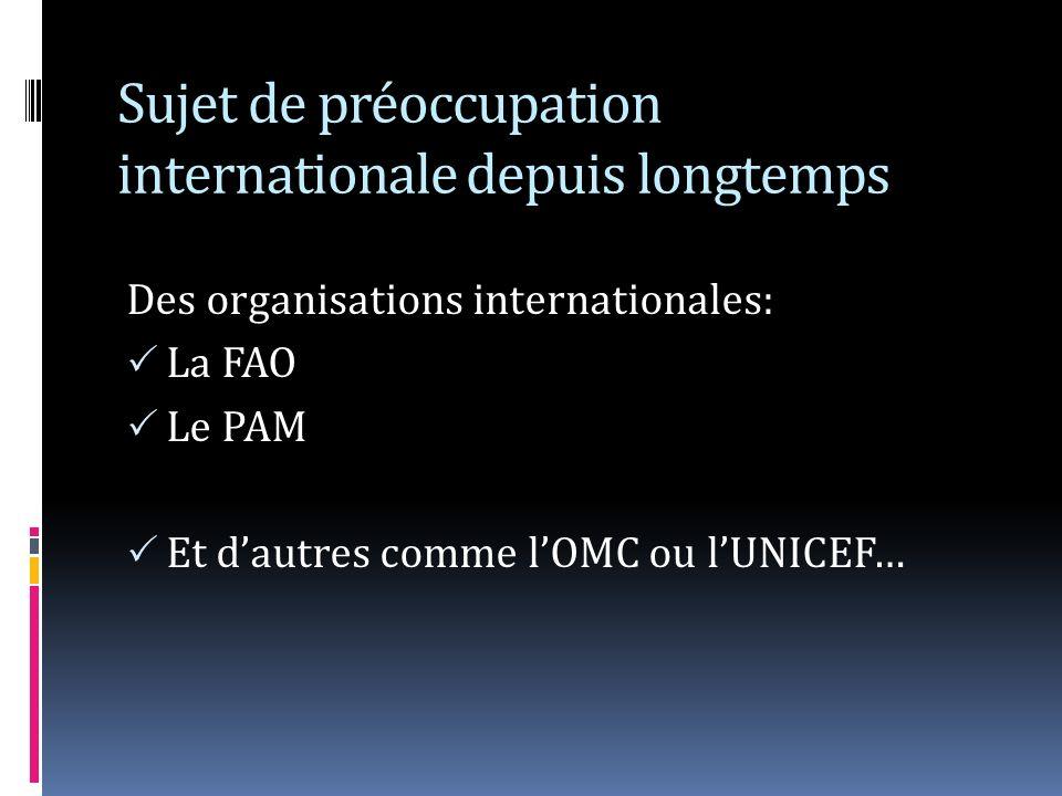Sujet de préoccupation internationale depuis longtemps Des organisations internationales: La FAO Le PAM Et dautres comme lOMC ou lUNICEF…