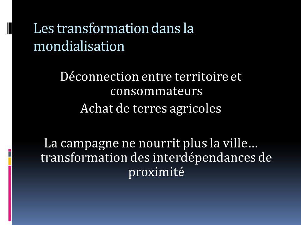 Les transformation dans la mondialisation Déconnection entre territoire et consommateurs Achat de terres agricoles La campagne ne nourrit plus la ville… transformation des interdépendances de proximité