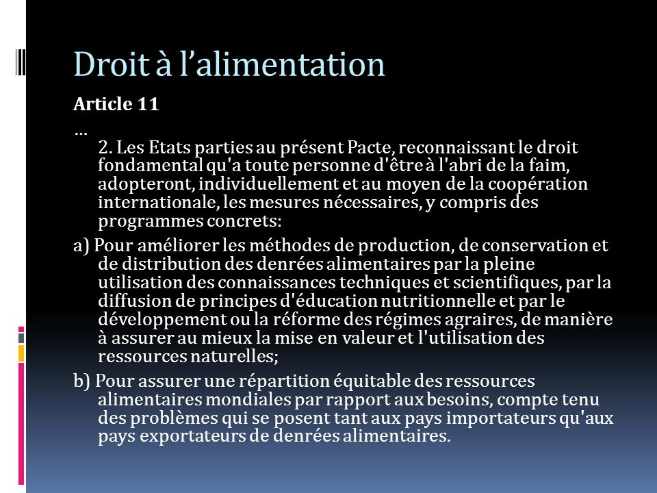 Droit à lalimentation Article 11 … 2.