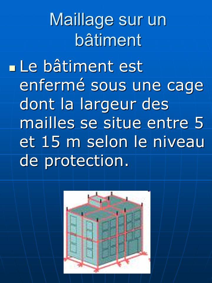 Maillage sur un bâtiment Le bâtiment est enfermé sous une cage dont la largeur des mailles se situe entre 5 et 15 m selon le niveau de protection. Le