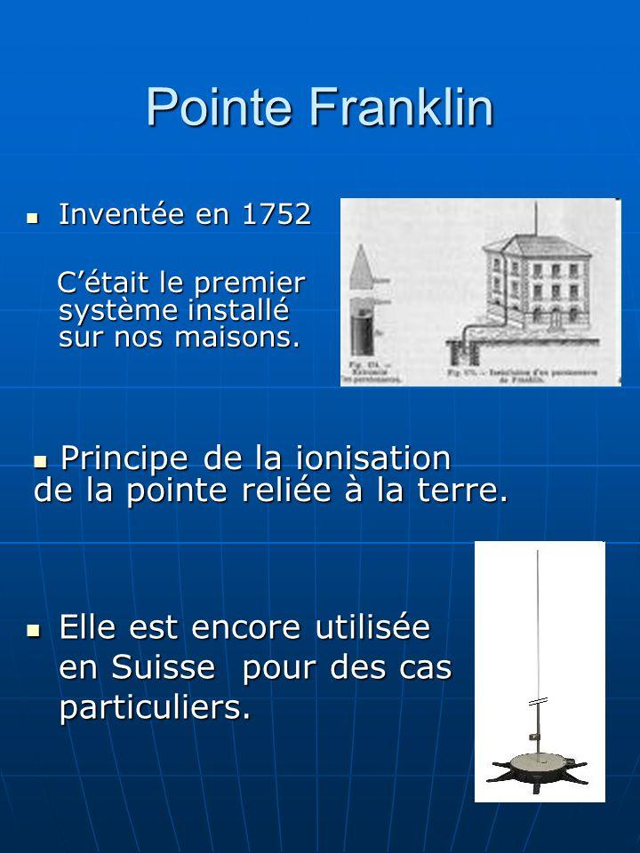 Pointe Franklin Inventée en 1752 Inventée en 1752 Cétait le premier système installé sur nos maisons. Cétait le premier système installé sur nos maiso