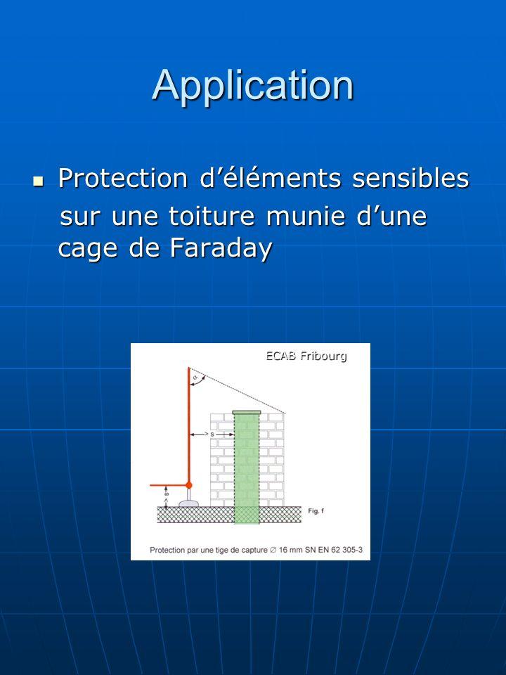 Application Protection déléments sensibles Protection déléments sensibles sur une toiture munie dune cage de Faraday sur une toiture munie dune cage d