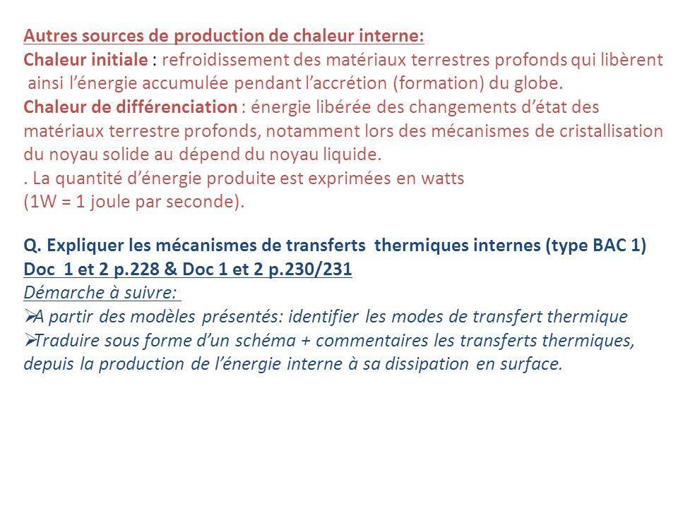 Autres sources de production de chaleur interne: Chaleur initiale : refroidissement des matériaux terrestres profonds qui libèrent ainsi lénergie accumulée pendant laccrétion (formation) du globe.