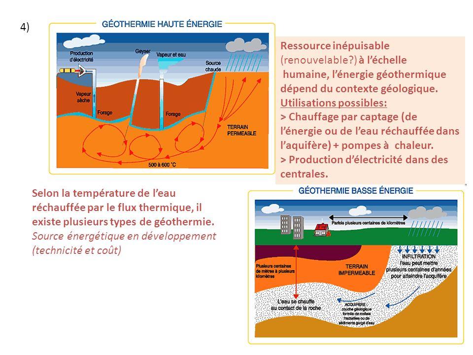 4) Selon la température de leau réchauffée par le flux thermique, il existe plusieurs types de géothermie.