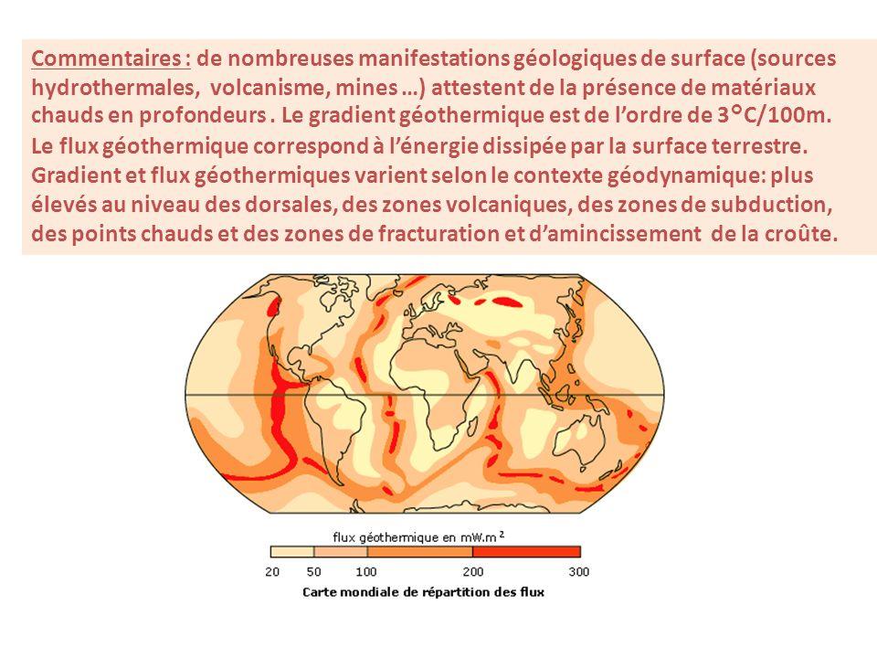 Commentaires : de nombreuses manifestations géologiques de surface (sources hydrothermales, volcanisme, mines …) attestent de la présence de matériaux chauds en profondeurs.