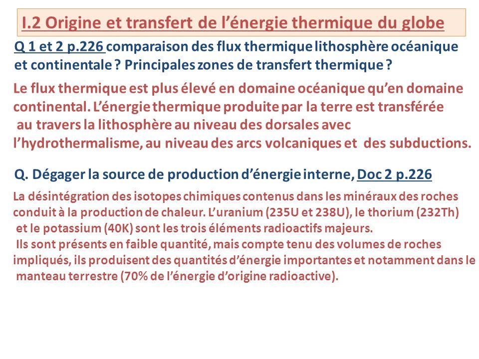 I.2 Origine et transfert de lénergie thermique du globe Q 1 et 2 p.226 comparaison des flux thermique lithosphère océanique et continentale .