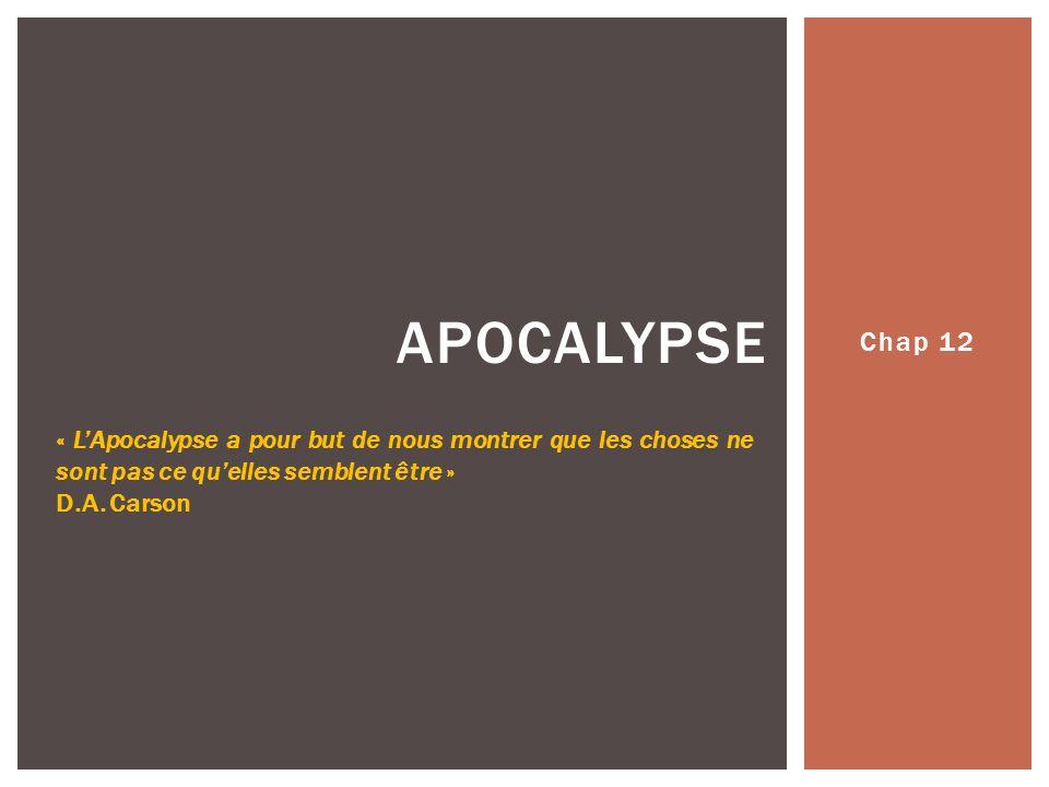 Chap 12 APOCALYPSE « LApocalypse a pour but de nous montrer que les choses ne sont pas ce quelles semblent être » D.A.