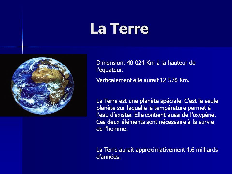 La Terre La Terre Dimension: 40 024 Km à la hauteur de léquateur. Verticalement elle aurait 12 578 Km. La Terre est une planète spéciale. Cest la seul