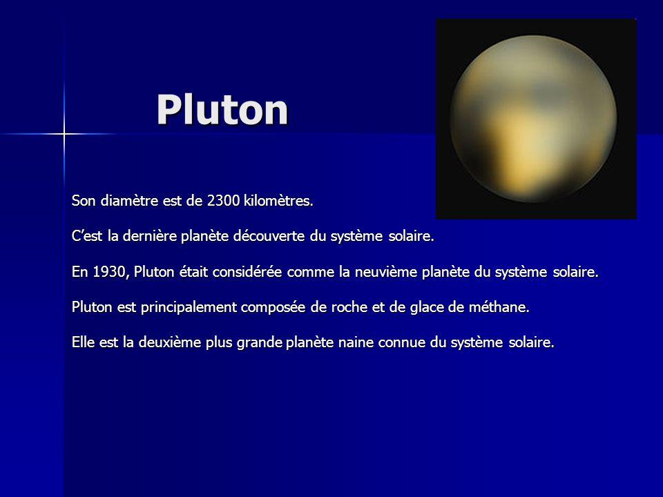 Pluton Son diamètre est de 2300 kilomètres. Cest la dernière planète découverte du système solaire. En 1930, Pluton était considérée comme la neuvième