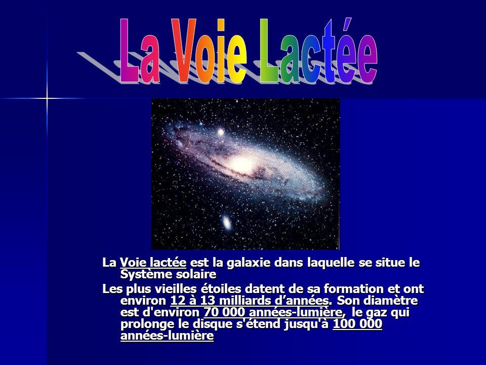 La Voie lactée est la galaxie dans laquelle se situe le Système solaire Les plus vieilles étoiles datent de sa formation et ont environ 12 à 13 millia