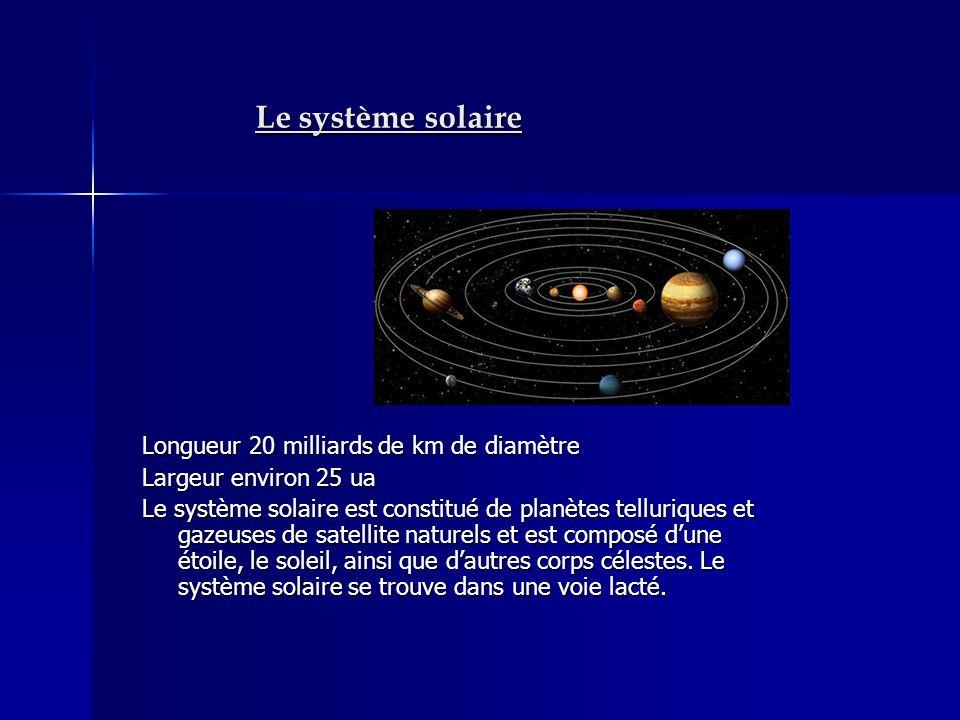 Le système solaire Longueur 20 milliards de km de diamètre Largeur environ 25 ua Le système solaire est constitué de planètes telluriques et gazeuses