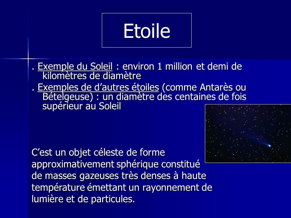 . Exemple du Soleil : environ 1 million et demi de kilomètres de diamètre. Exemples de dautres étoiles (comme Antarès ou Bételgeuse) : un diamètre des