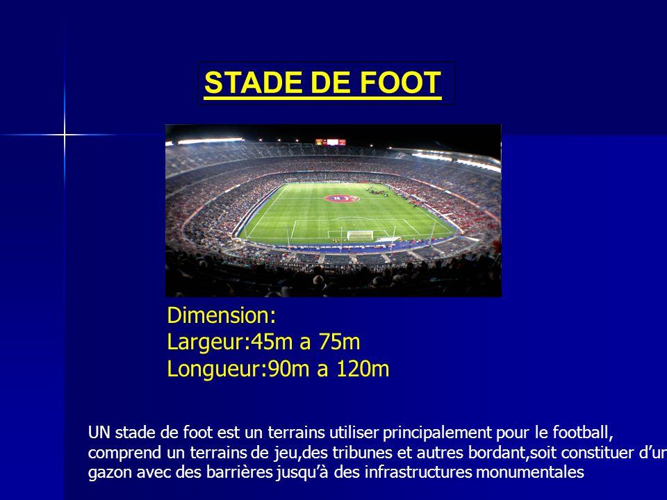 STADE DE FOOT Dimension: Largeur:45m a 75m Longueur:90m a 120m UN stade de foot est un terrains utiliser principalement pour le football, comprend un