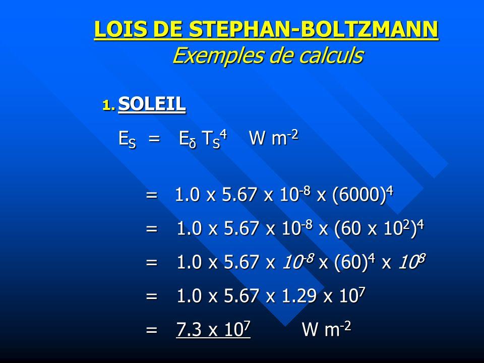 LOIS DE STEPHAN-BOLTZMANN Exemples de calculs 1.