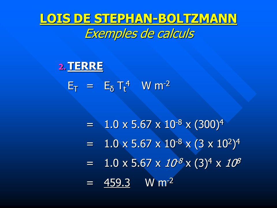 LOIS DE STEPHAN-BOLTZMANN Exemples de calculs 2.