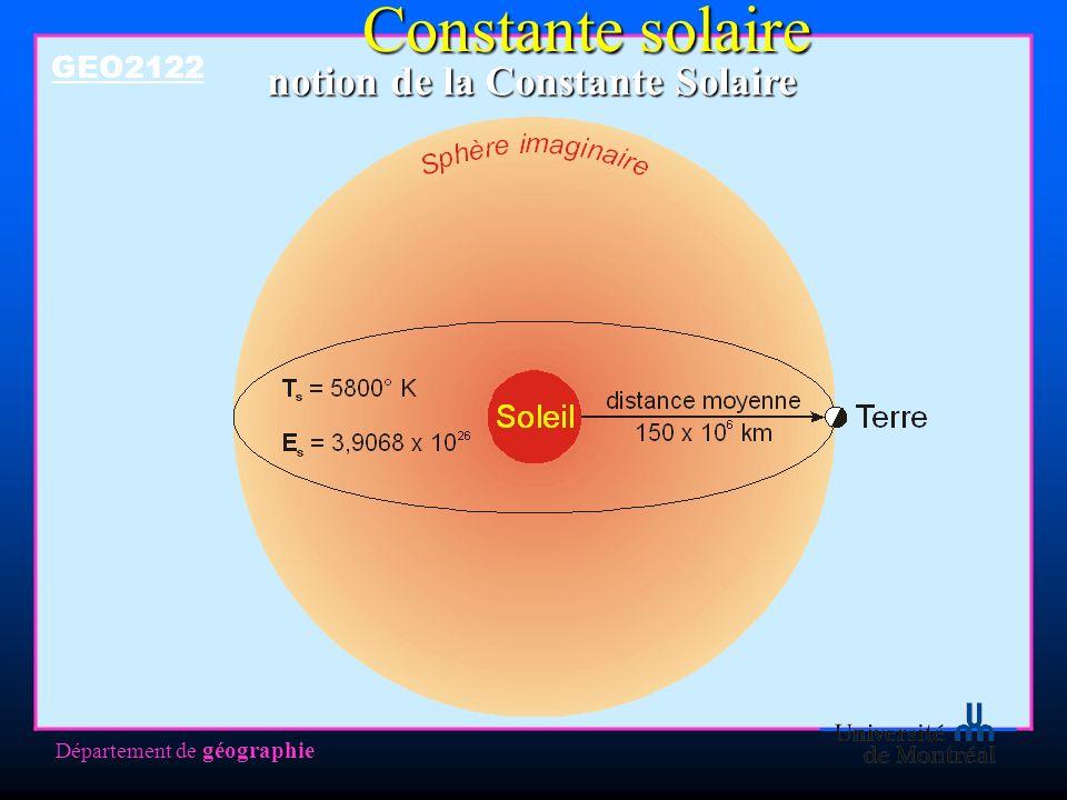 Département de géographie notion de la Constante Solaire GEO2122 Constante solaire