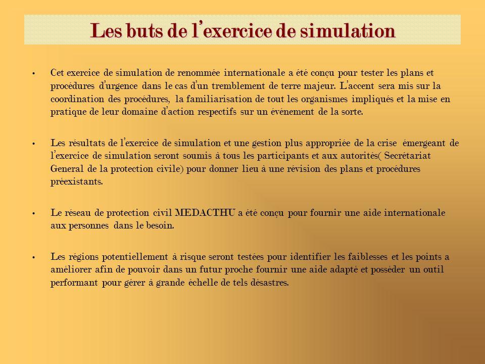 Les buts de lexercice de simulation Cet exercice de simulation de renommée internationale a été conçu pour tester les plans et procédures durgence dan