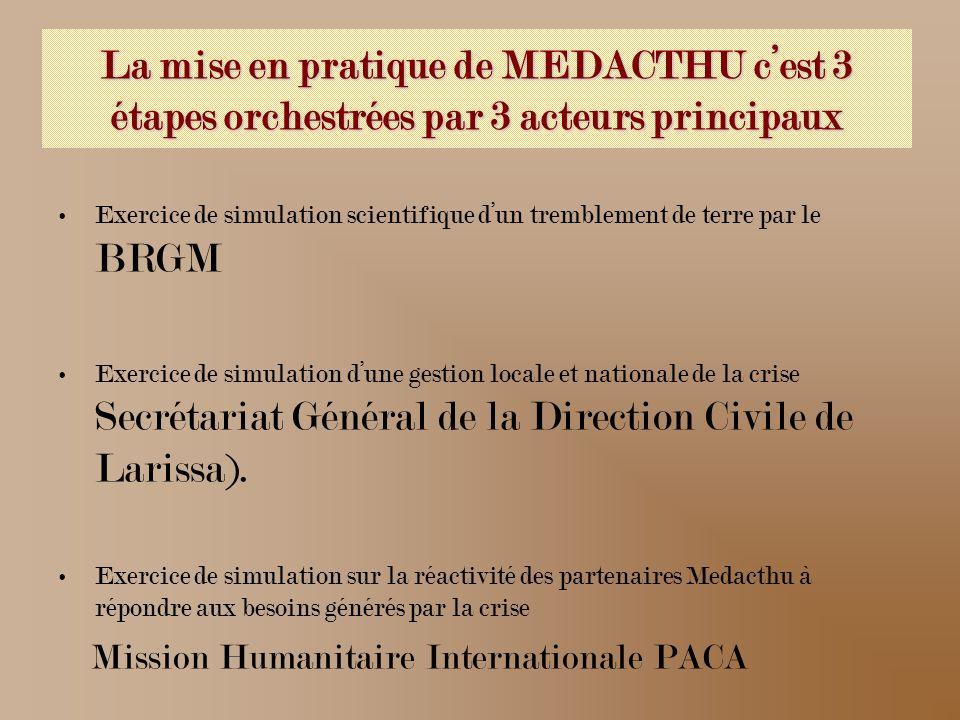 La mise en pratique de MEDACTHU cest 3 étapes orchestrées par 3 acteurs principaux Exercice de simulation scientifique dun tremblement de terre par le BRGM Exercice de simulation dune gestion locale et nationale de la crise Secrétariat Général de la Direction Civile de Larissa).