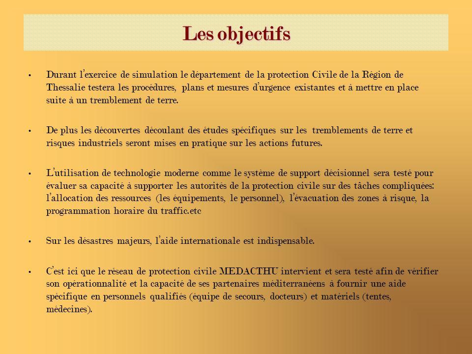Les objectifs Durant lexercice de simulation le département de la protection Civile de la Région de Thessalie testera les procédures, plans et mesures