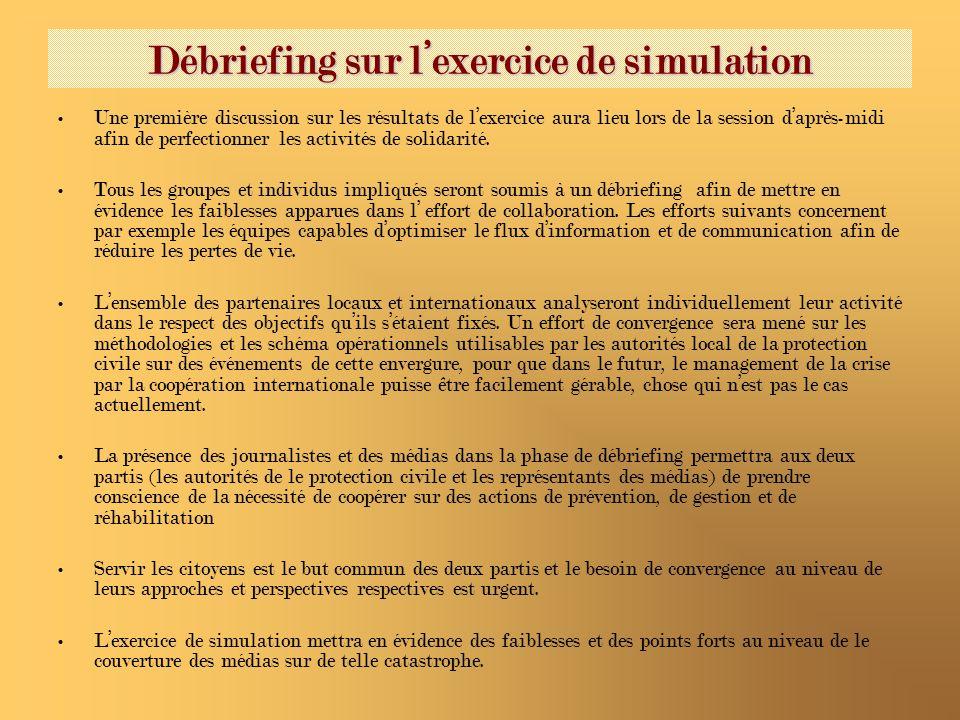 Débriefing sur lexercice de simulation Une première discussion sur les résultats de lexercice aura lieu lors de la session daprès-midi afin de perfectionner les activités de solidarité.