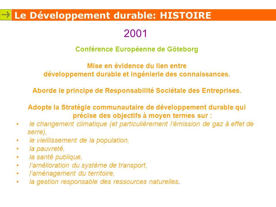 Le Développement durable: HISTOIRE 2001 Conférence Européenne de Göteborg Mise en évidence du lien entre développement durable et ingénierie des connaissances.