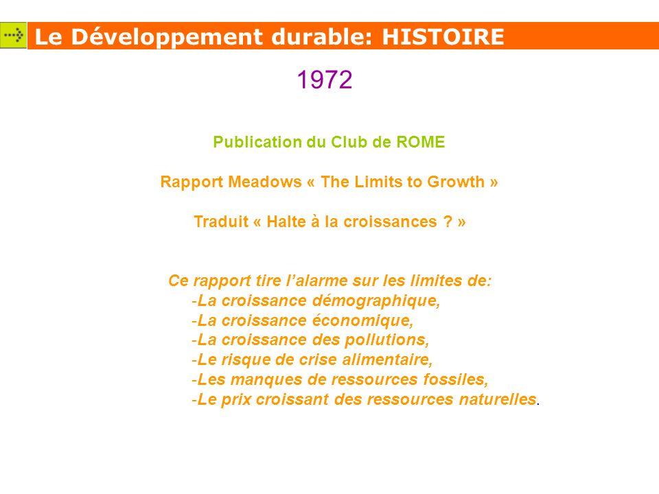 Le Développement durable: HISTOIRE 1972 Publication du Club de ROME Rapport Meadows « The Limits to Growth » Traduit « Halte à la croissances .