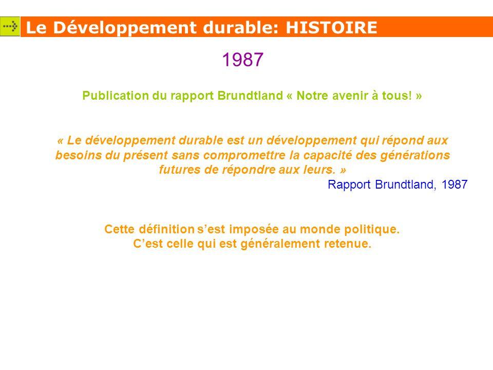 Le Développement durable: HISTOIRE 1987 Publication du rapport Brundtland « Notre avenir à tous.